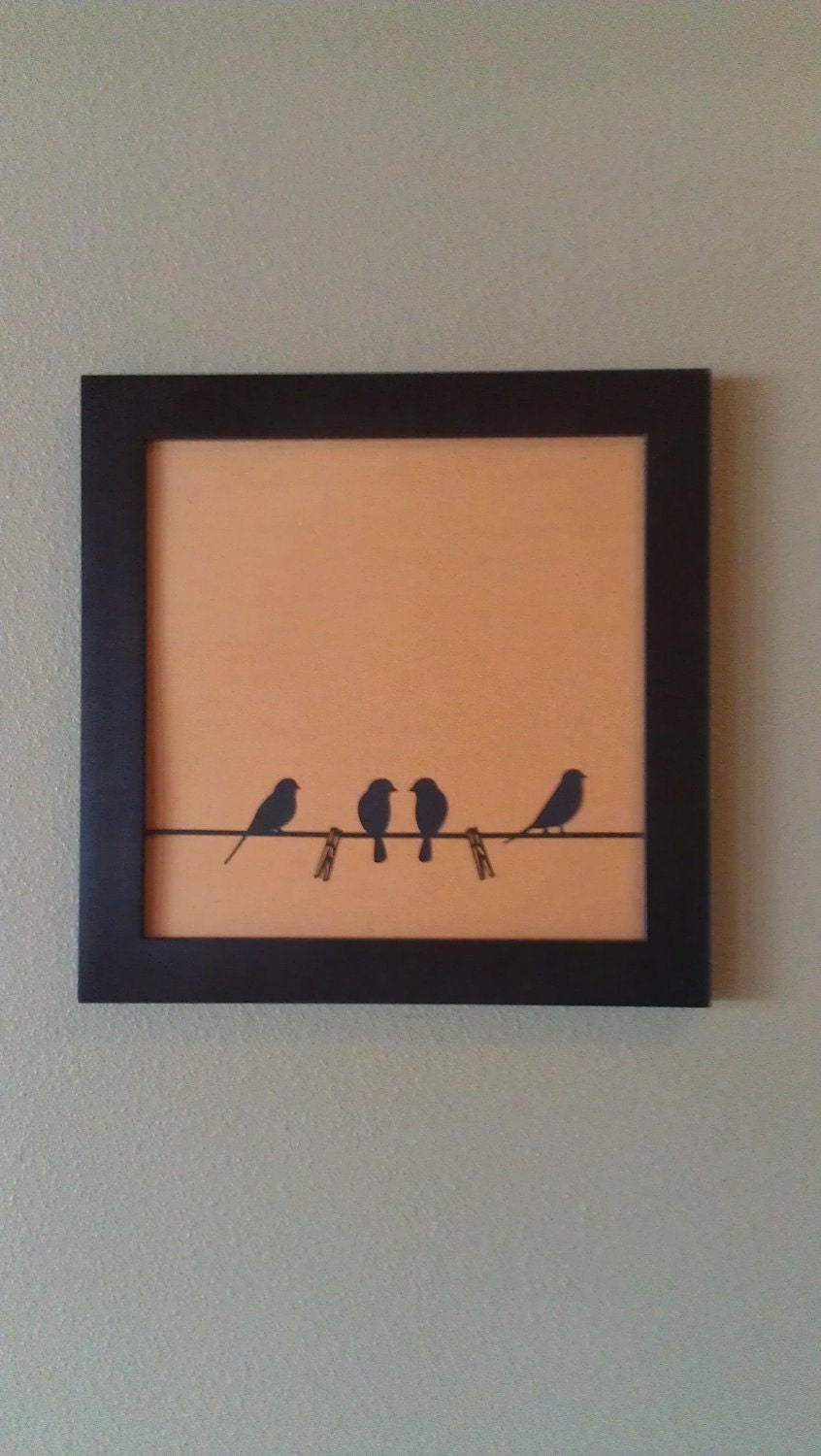 "Sweet Little Love Birds On The Clothesline, Original Papercut Wall Art 12""X12"" Square, A Darling Bird Family, Natural"