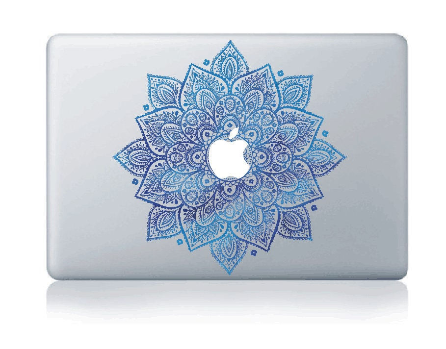 Macbook 13 inch decal sticker Blue magic flower kaleidoscope for Apple Laptop