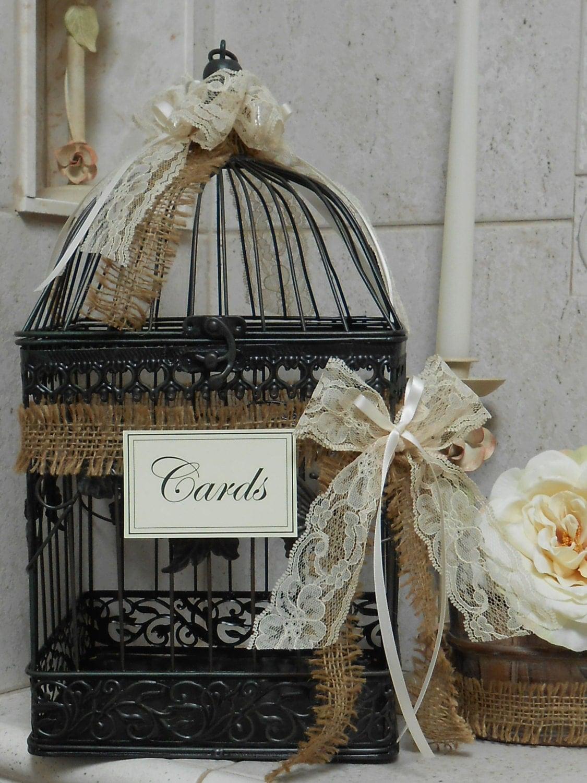 Birdcage wedding card holder card box wedding by for Wedding mailbox decorating ideas