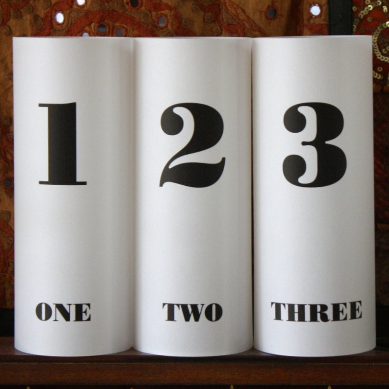 Table numbers luminarias bold number design by thepaperynook for Table design numbers