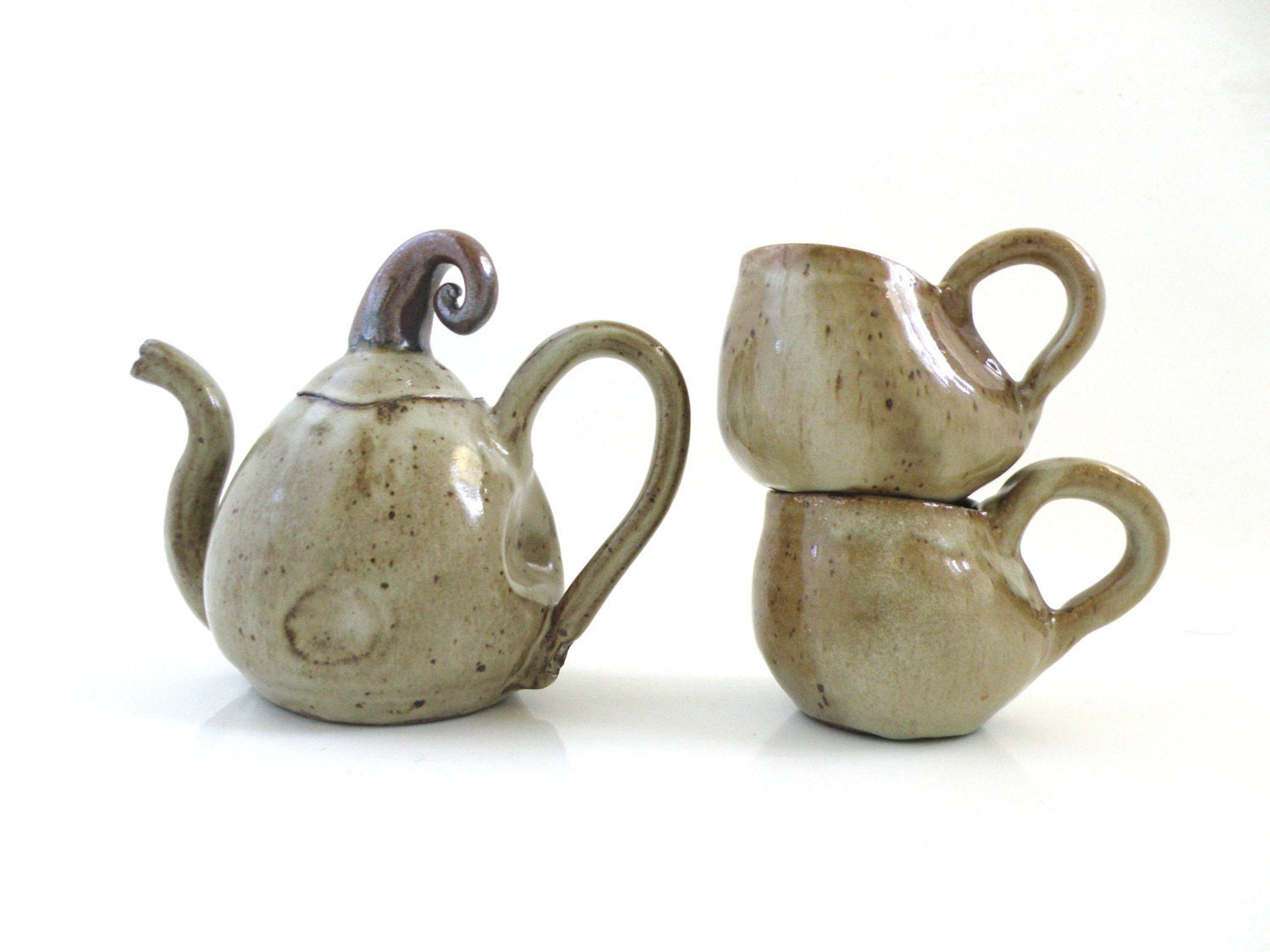 Handmade Ceramic teapot /set with two cups. by AntwarePottery