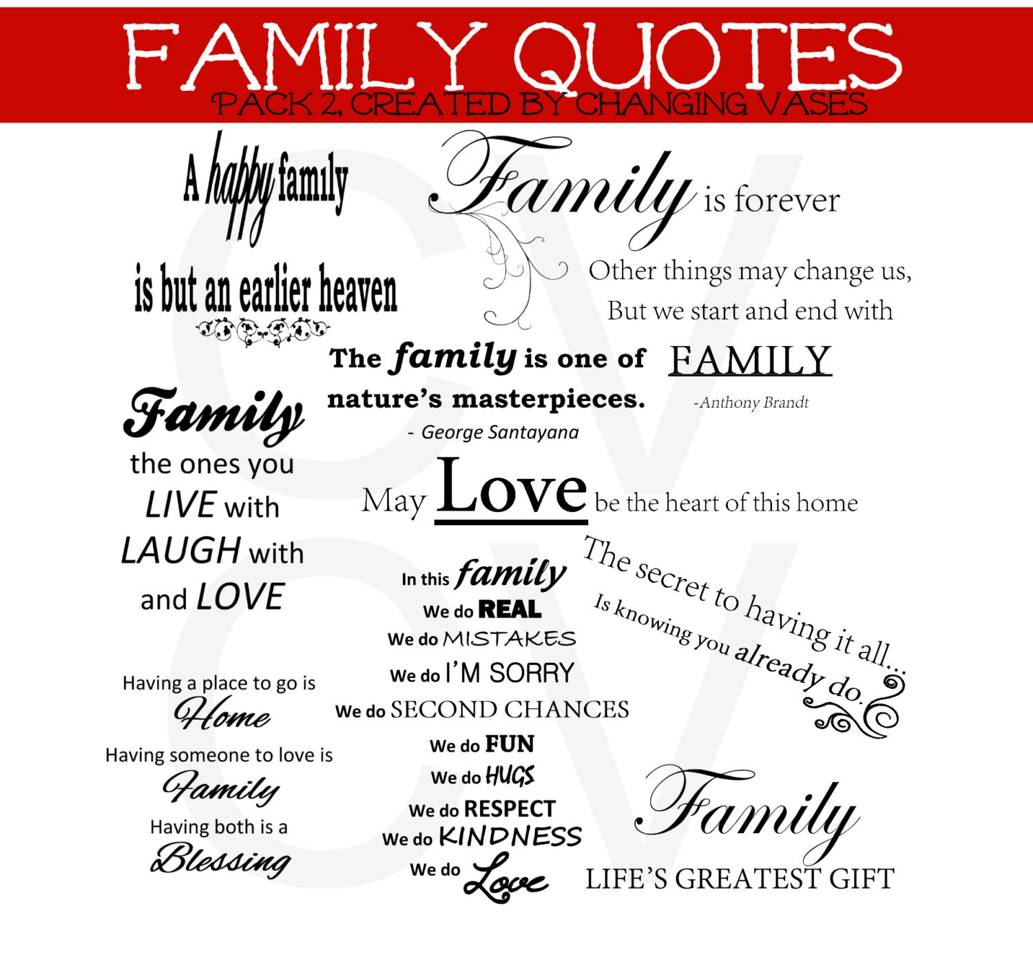 50 OFF Printable Instant Download Family Word by ChangingVases