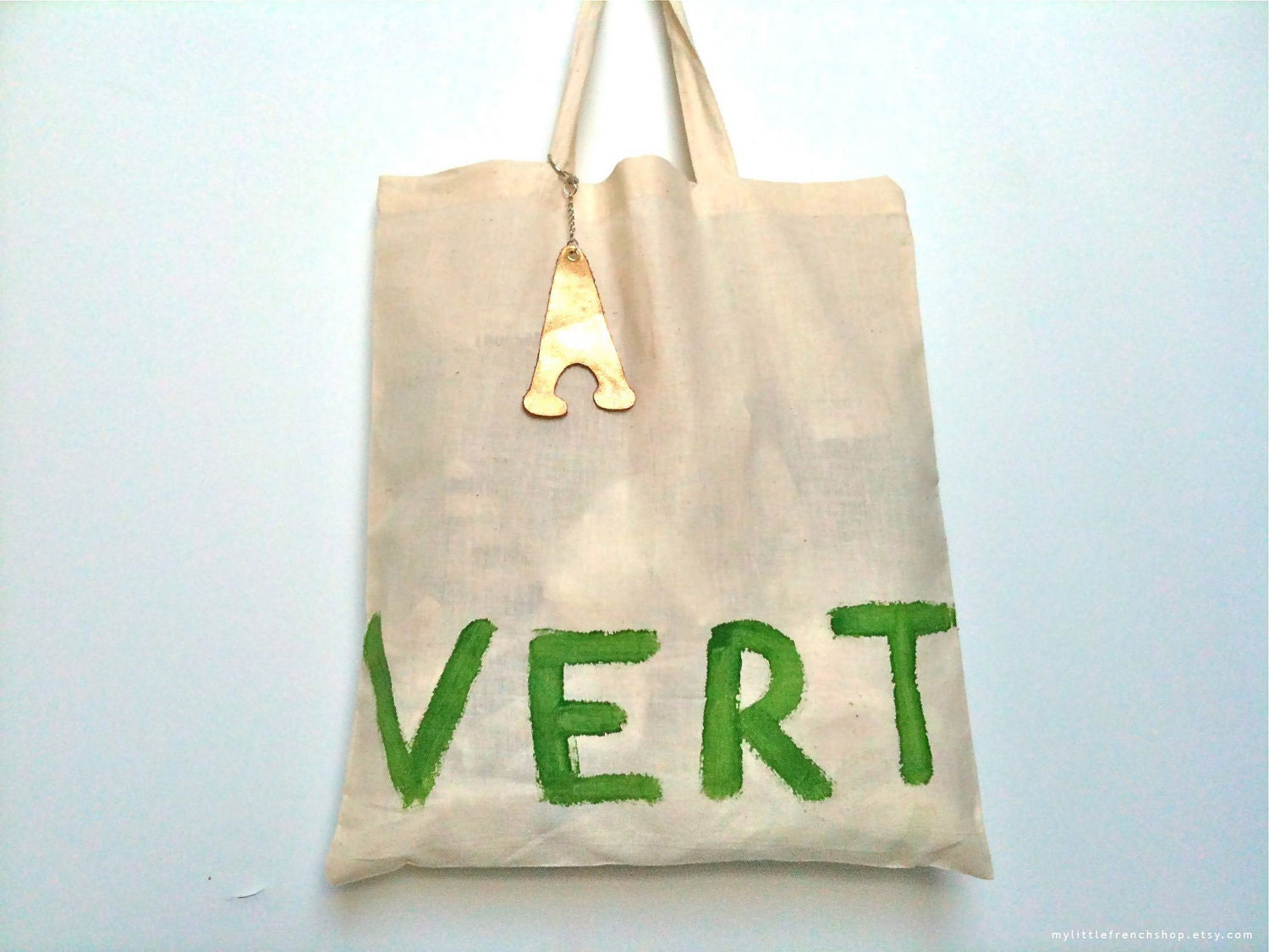 Vert TOTE Bag - French - Natural/Green - Eco - Eiffel Tower - MyLittleFrenchShop