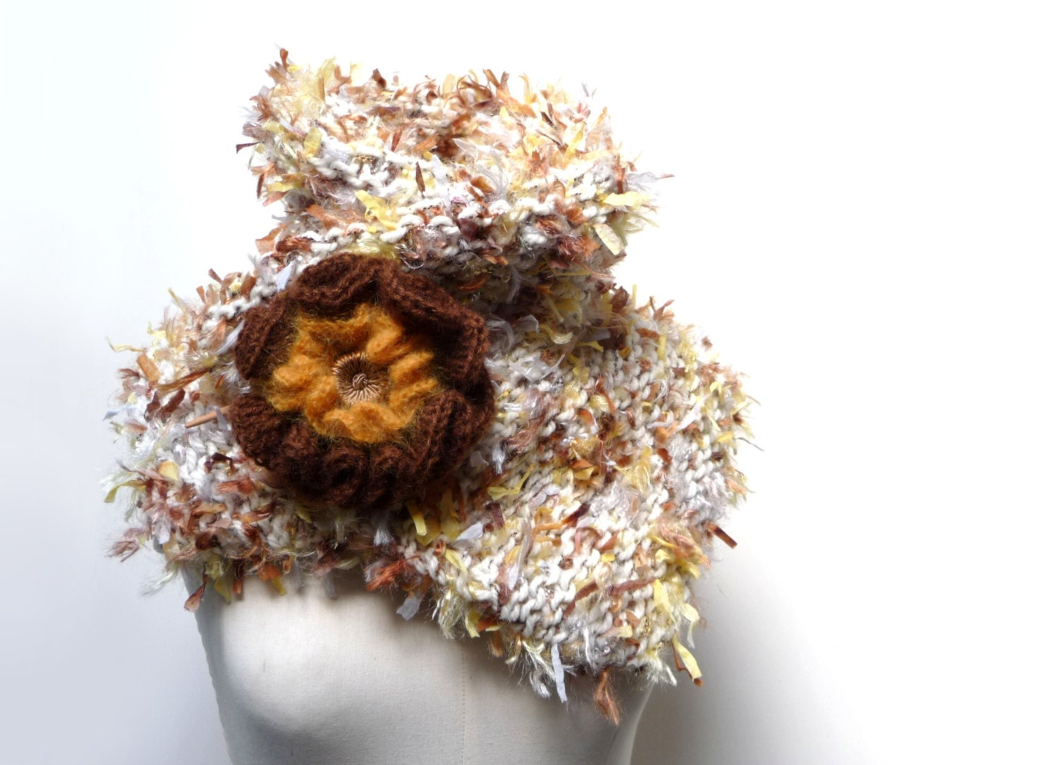 Chunky Scarf, Shrug, Bolero, Neckwarmer - Handknit Multifuncional - white, yellow, brown fuzzy yarn with giant flower brooch - SPICED SNOW - ixela