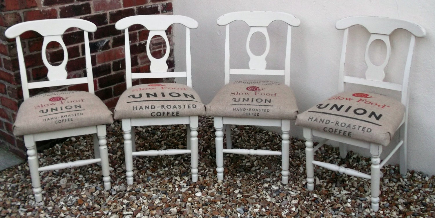 Set Of Four Vintage Wooden Kitchen Dining Shabby Chic Chairs Reupholstered In Coffee Sack Material
