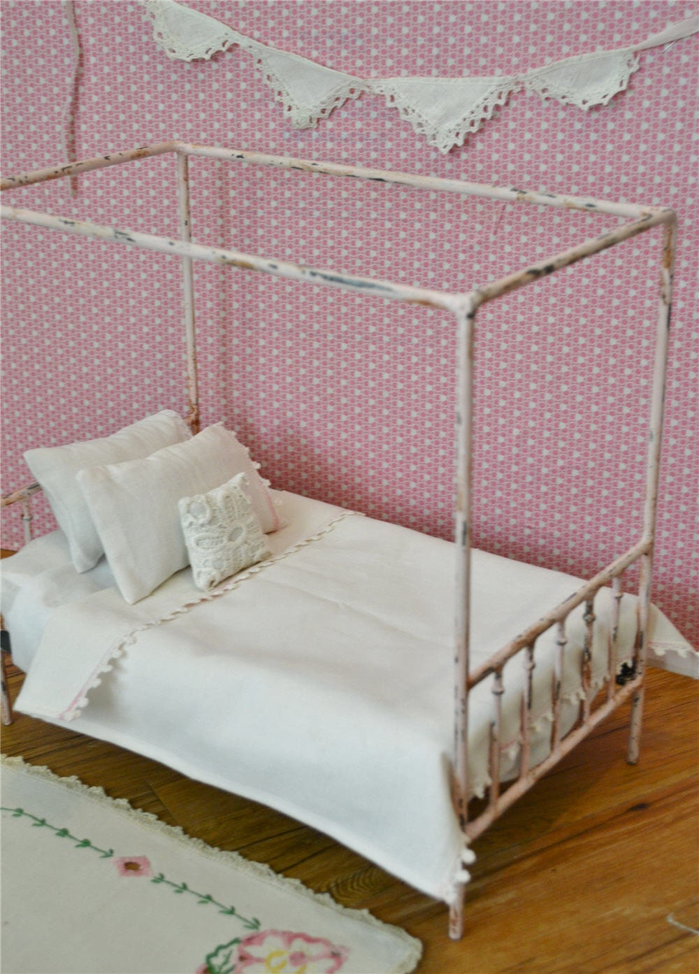 canopy bed doll bed pink antique metal 1 6th by dreamcometruebeds