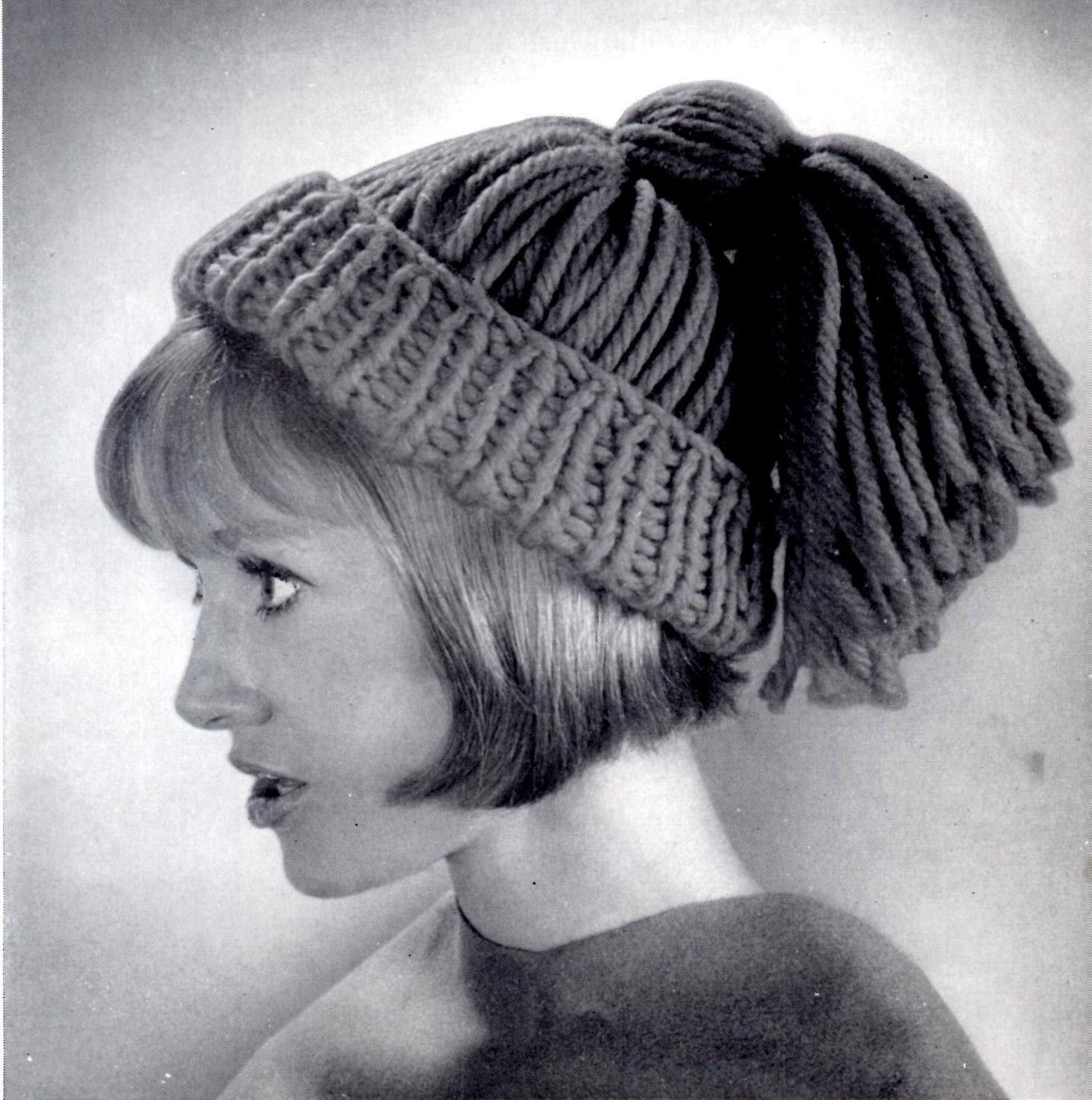 Knitting Pattern Ponytail Hat : Items similar to Vintage Knitted Ponytail Hat Instant Download on Etsy