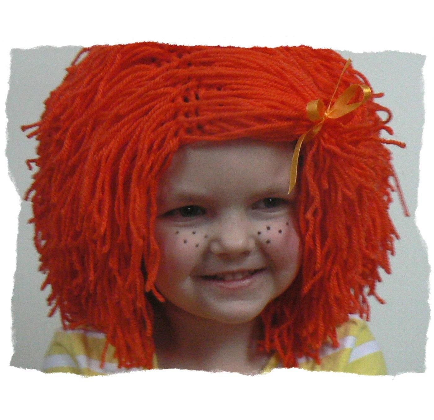Crochet Wig Hat, Halloween Hat, Hat with Hair, Yarn Wig Hat, Orange ...