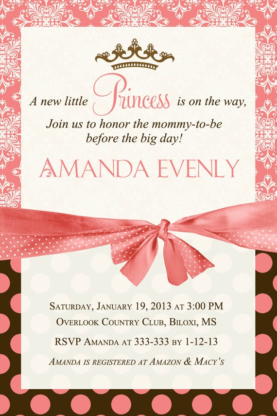 coral brown princess baby shower invitation printable by party pop