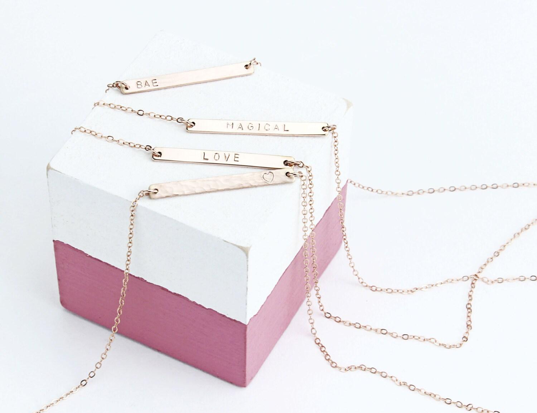 Skinny 14k Rose Gold Fill Bar Necklace  Personalised Necklace  Bar Necklace  Minimalist  Personalised Gift  Name Necklace  Rose Gold