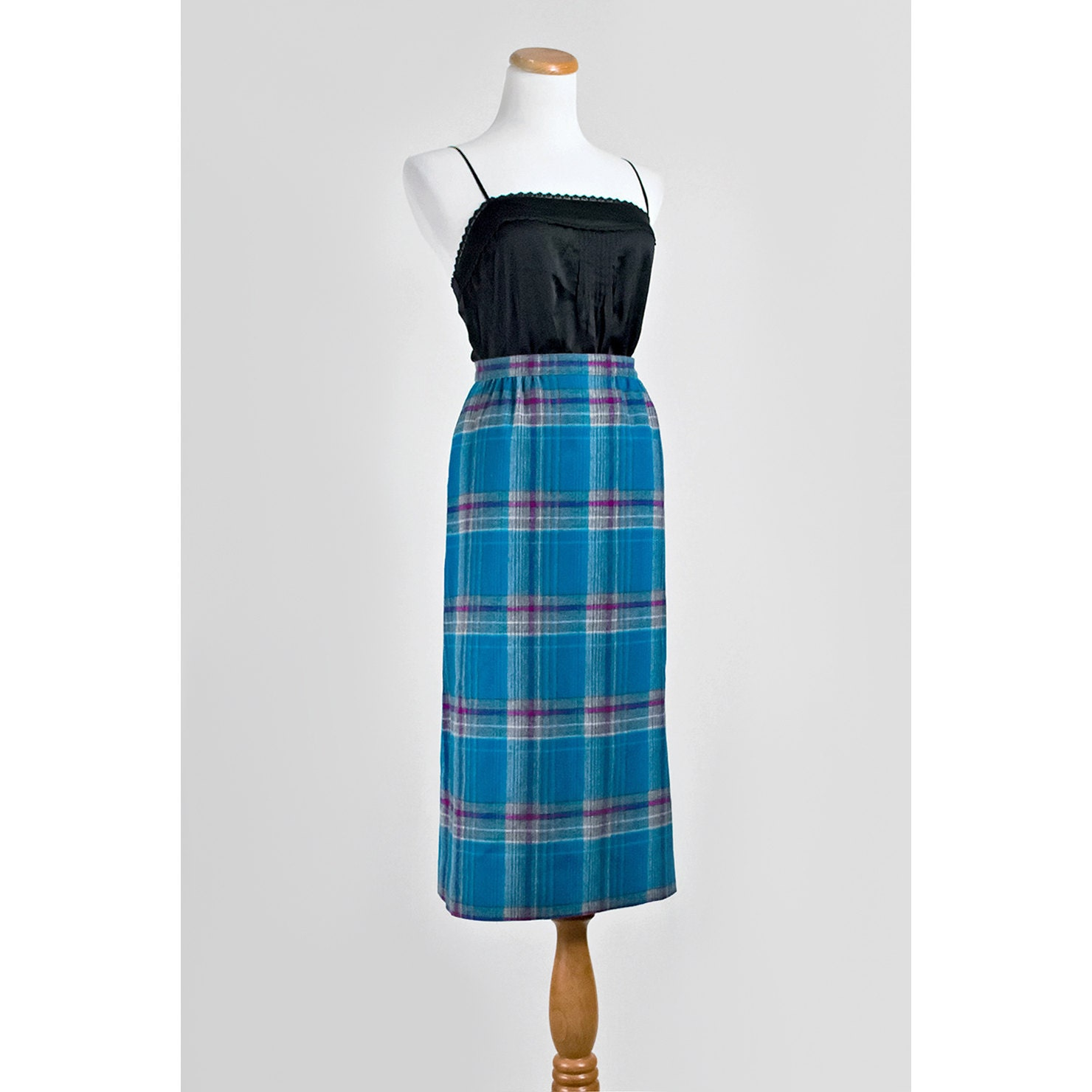 1960s plaid pencil skirt 60s pendleton by recyclinghistory