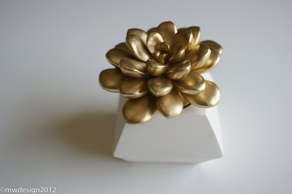 Gold Succulent, White Modern Faceted Geometric Decahedron Container, Sculpture, Tabletop, Centerpiece
