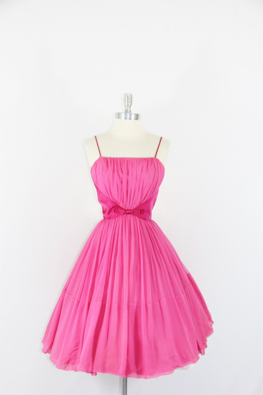 1950's Vintage Dress - HOT PINK Silk Chiffon Sexy Party Dress