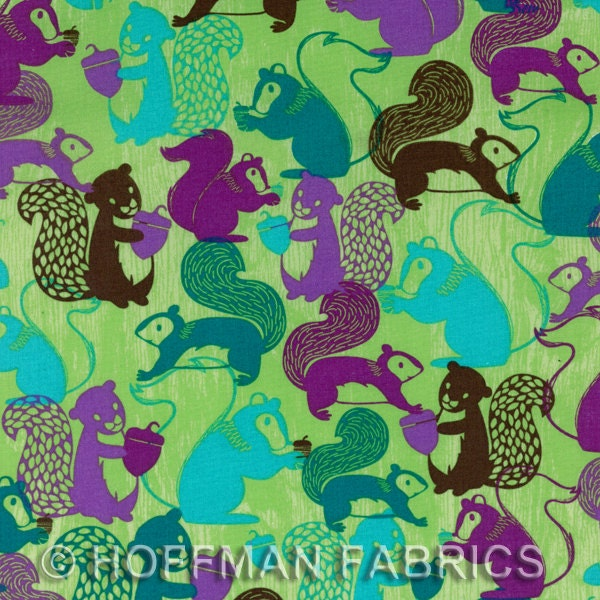 Woodlands Squirrel Cotton Fabric in Juniper from Hoffman Fabrics - 1 Yard - FabricFascination