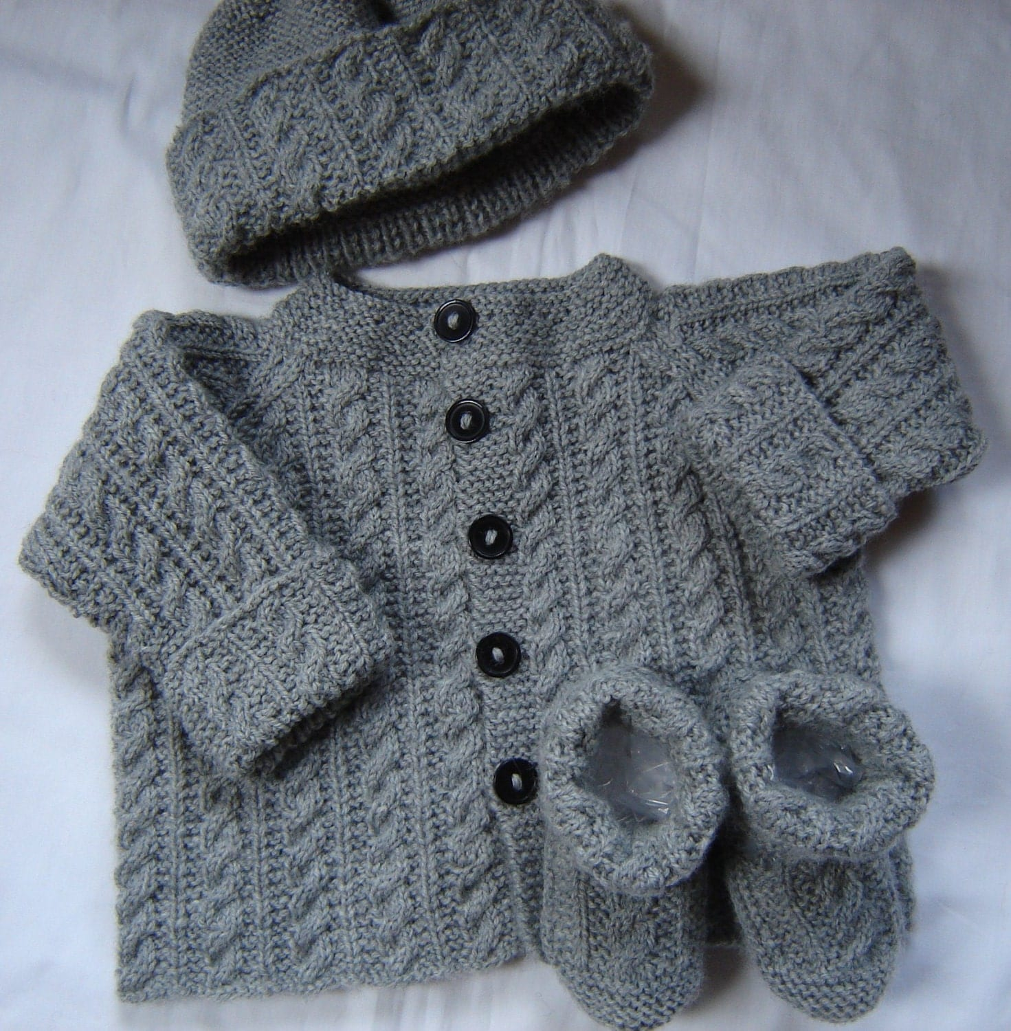 Knitting Pattern Sweater Boy : Baby Boy Sweater Set Hat Booties Hand Knit Gray by SwanAvenue