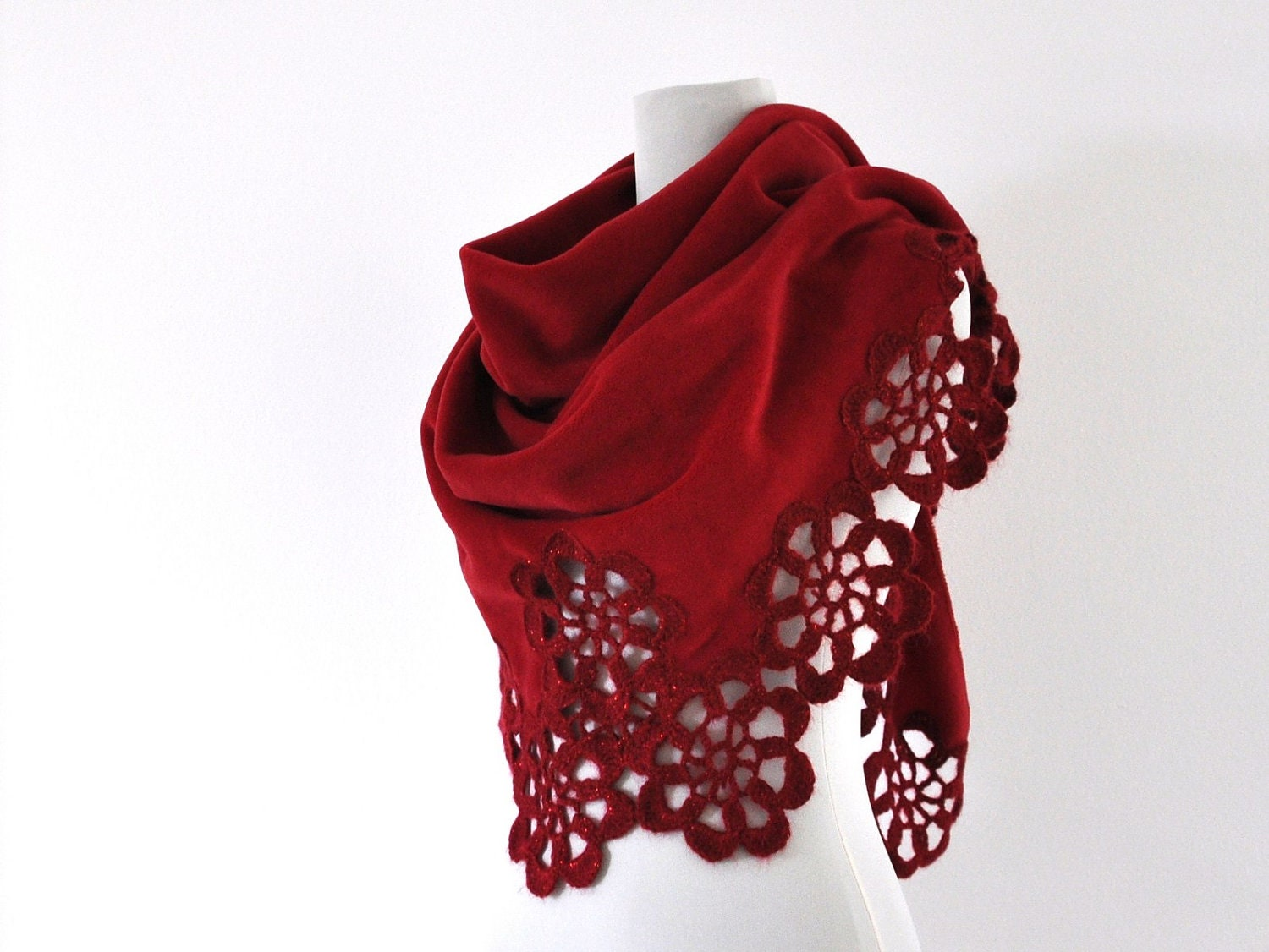Red Fleece Shawl Wedding Shawl Bridal Wrap Stole Crochet Flower Motifs Triangle Bridal Accessories Valentines Day Love Gift for Her - reflectionsbyds