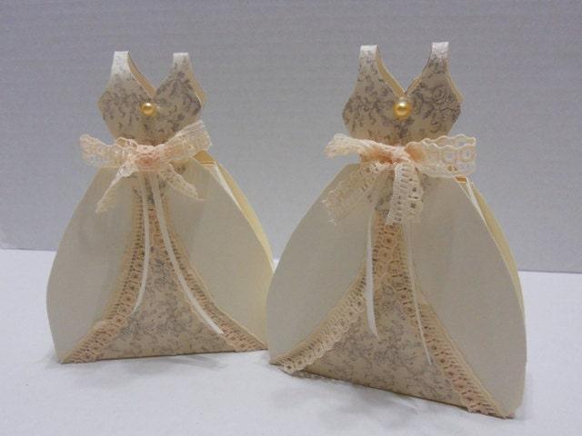 Vintage Wedding Dresses Bath : Vintage bridal shower wedding favors dress favor boxes made