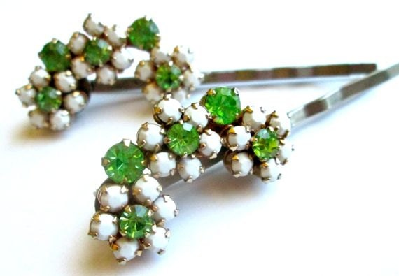 Bridal Hair Accessories White Green Vintage Jewelry Rhinestones Bobby Pins Clips