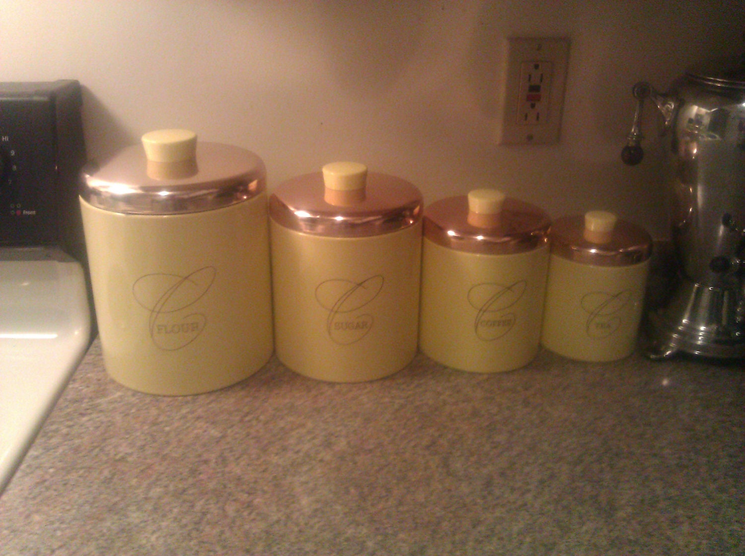 vintage ransburg aluminum canister set flour by