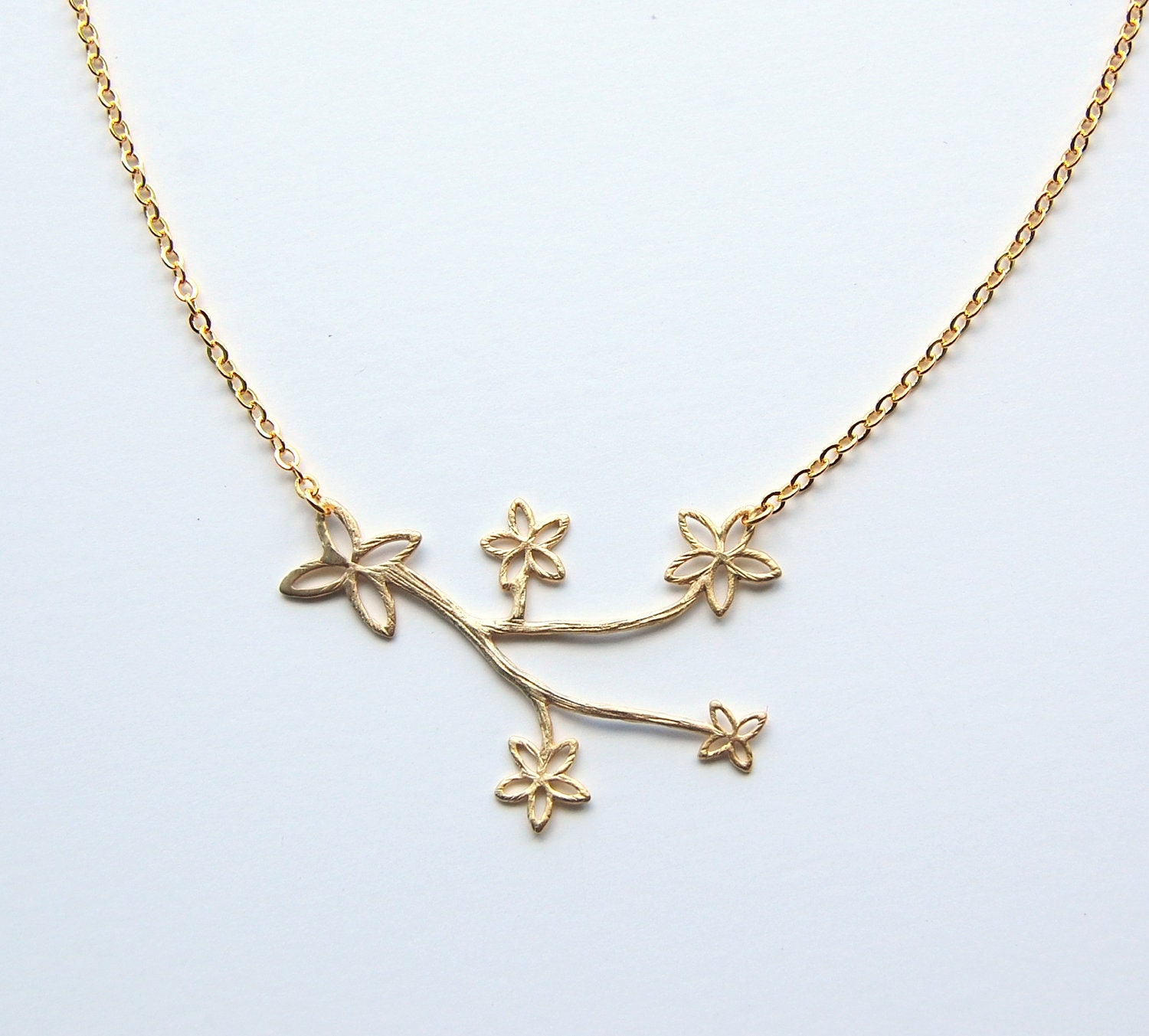 gold cherry blossom necklace pendant by corinnamaggydesigns