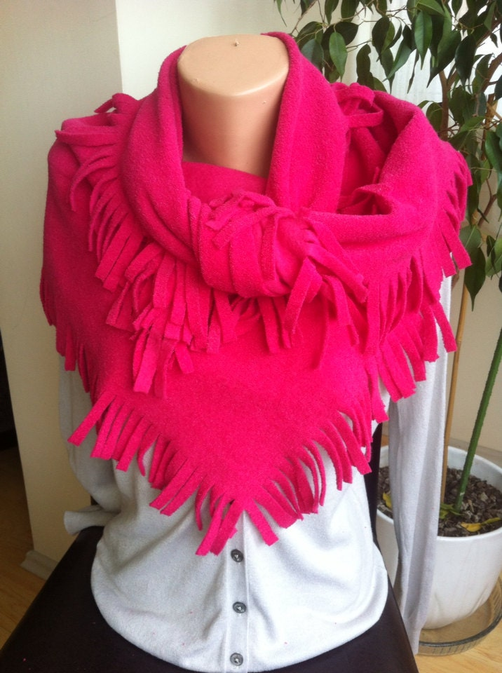 Solid hot Pink Winter Scarf, Pink Fleece Scarf,  Fuchsia Winter Fashion Scarf, Fleece fringe Scarf - BellaTurka