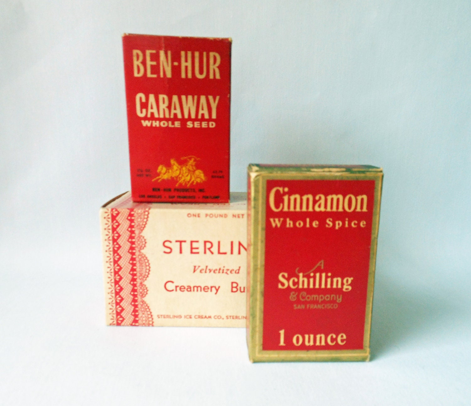 Vintage Spices-Vintage Butter Box-Red and White-Shabby Chic Kitchen Decor
