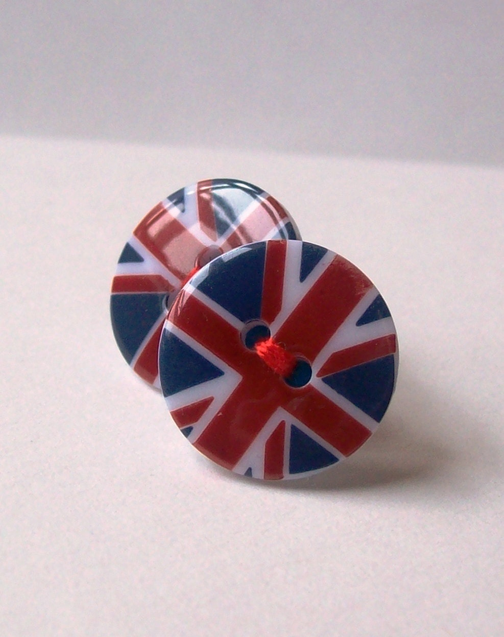 Union Jack Button Earrings - Diamond Jubilee - London 2012 Olympics
