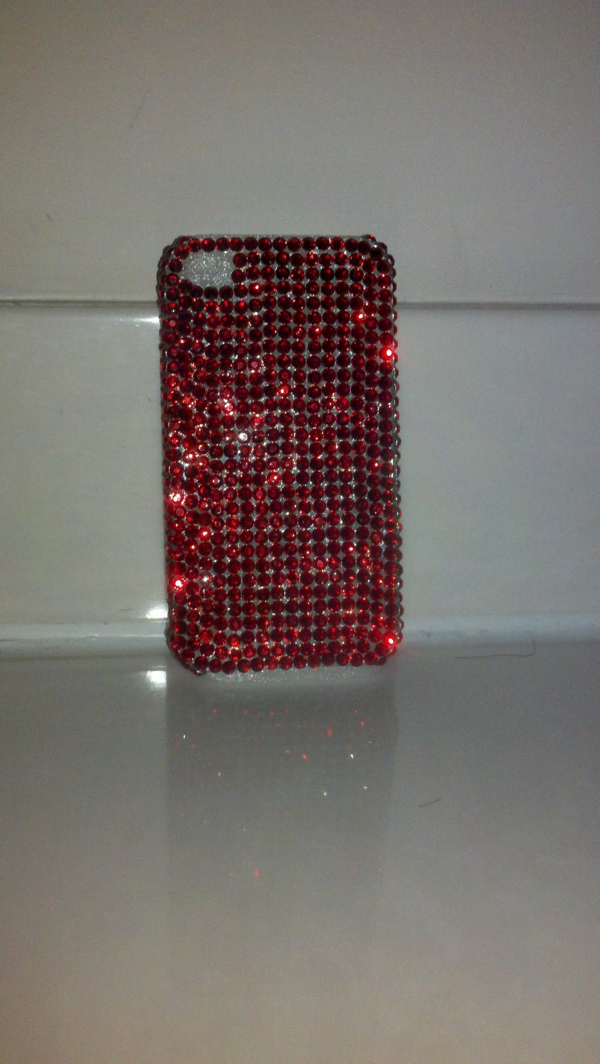 SALE Ready to Ship Embellished Crimson Red iPhone 4 & 4S Case
