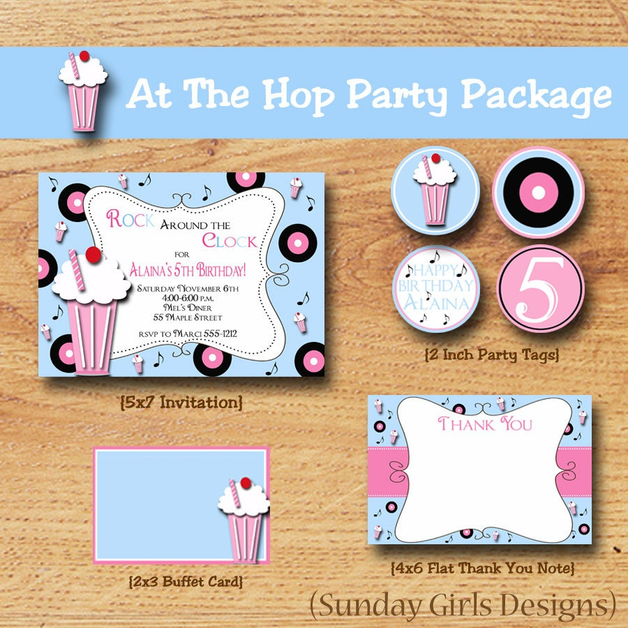 Sock Hop Birthday Party-Fifties Par ty-Party Pack-Printable Party