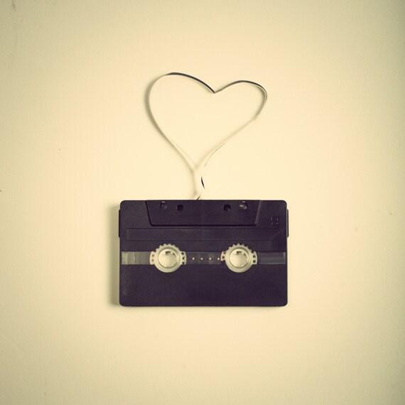 SALE, Music, Photography, love, retro, Record, Cassette, Black, Heart Photography, black, Vintage Print, Beige, Cream, Fine Art, Wedding