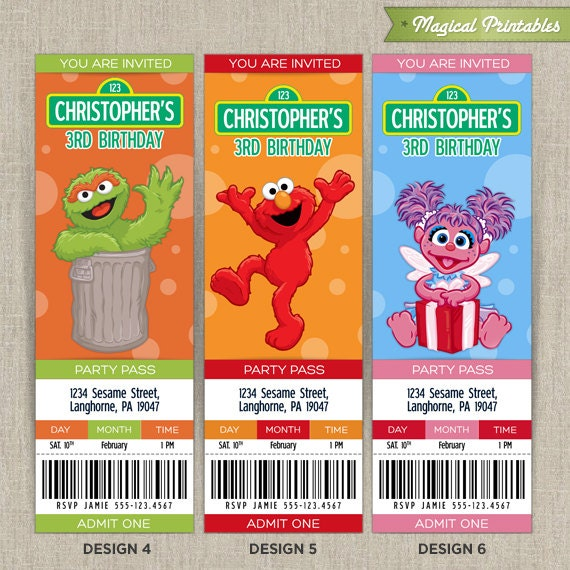 sesame street invitations | party inspiration board, Birthday invitations
