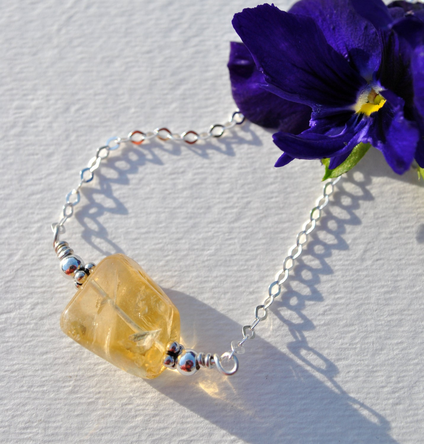 Yellow citrine freeform stone on Sterling Silver chain necklace  boho, minimalist, simple November birthstone - Beechtree
