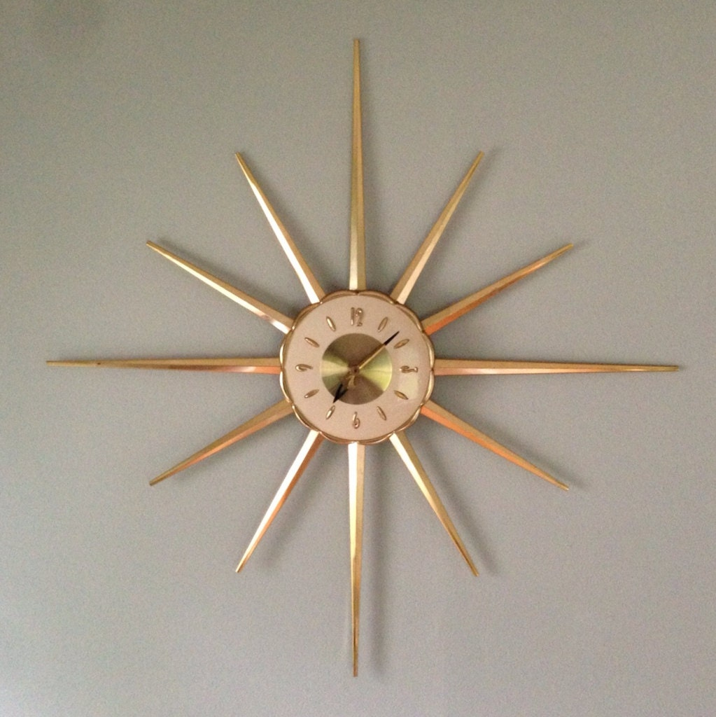 large mid century modern starburst wall clock by