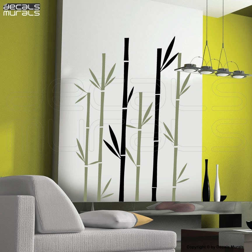 Wall decals geometric bamboo vinyl art stickers by for Bamboo mural walls