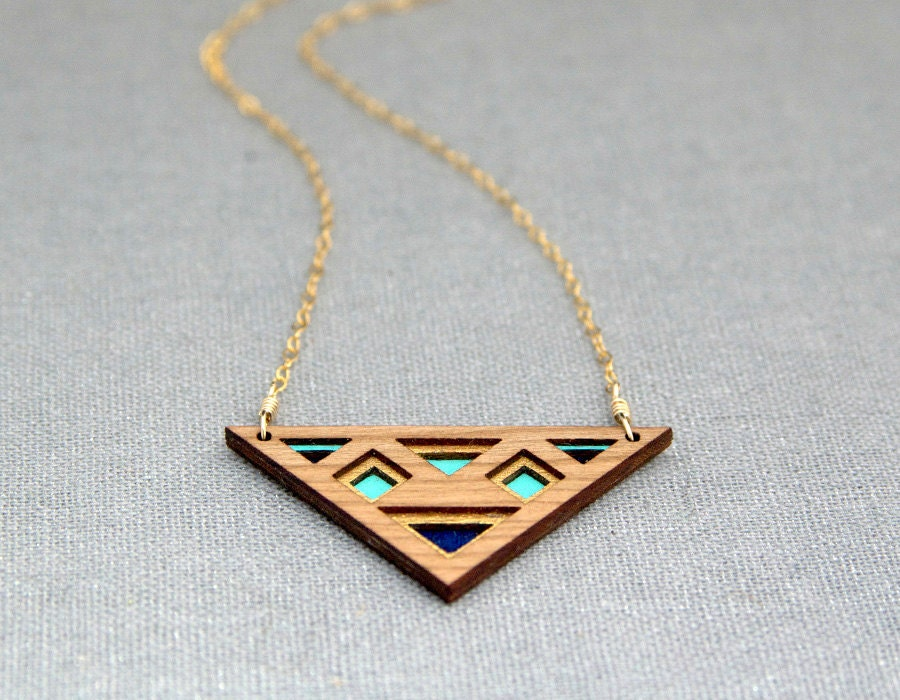 Luxe Layered Triangular Cherry Wood Necklace with Gold, Turquoise and Navy on Gold Filled Chain - birdofvirtue