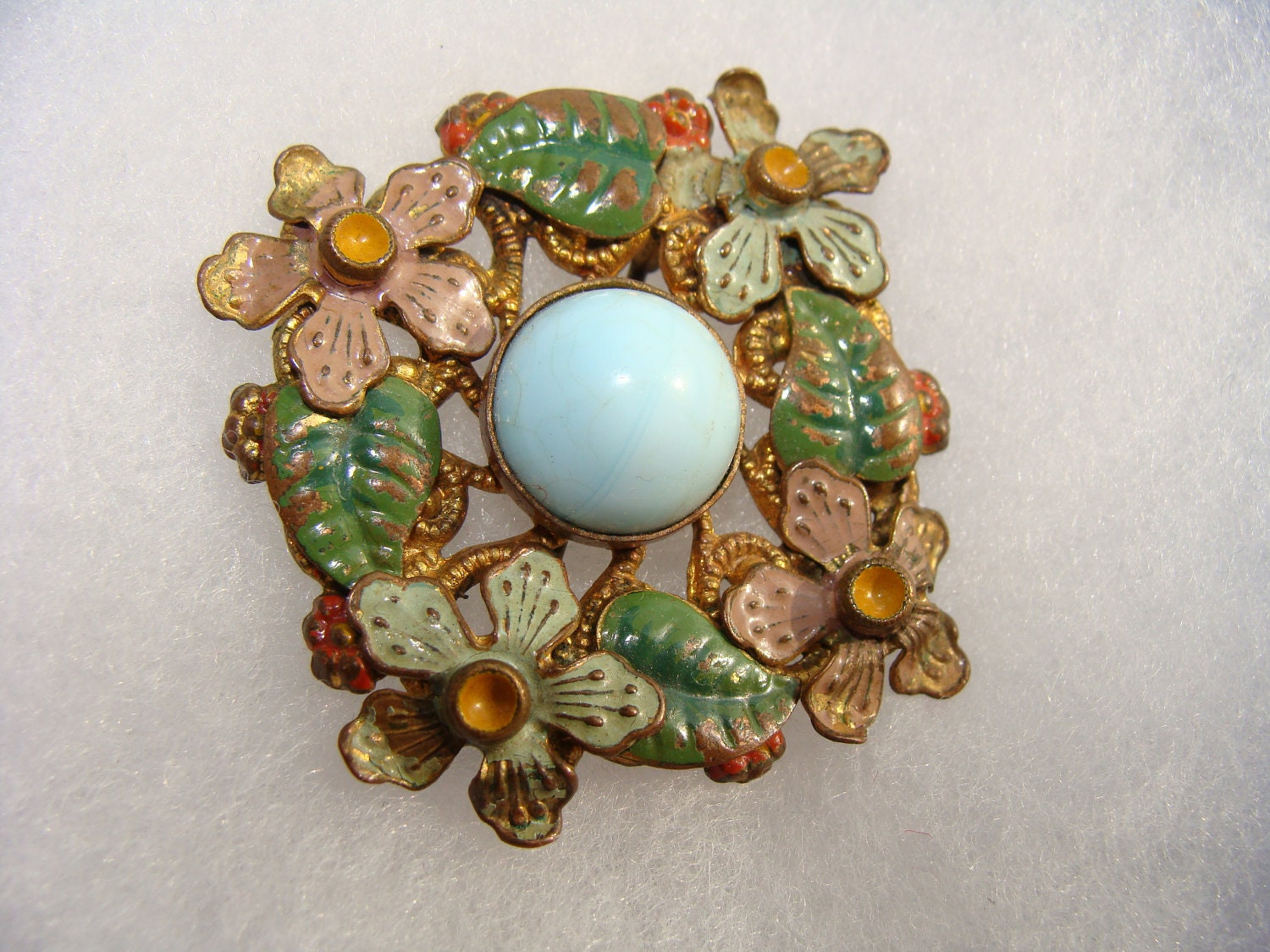Vintage 1920s 1930s enamel and glass flower brooch