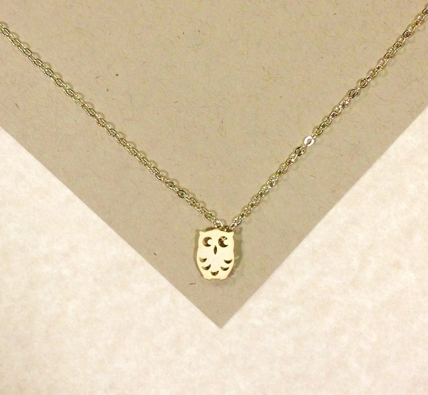 gold baby owl necklace anniversary by melissamarierussell