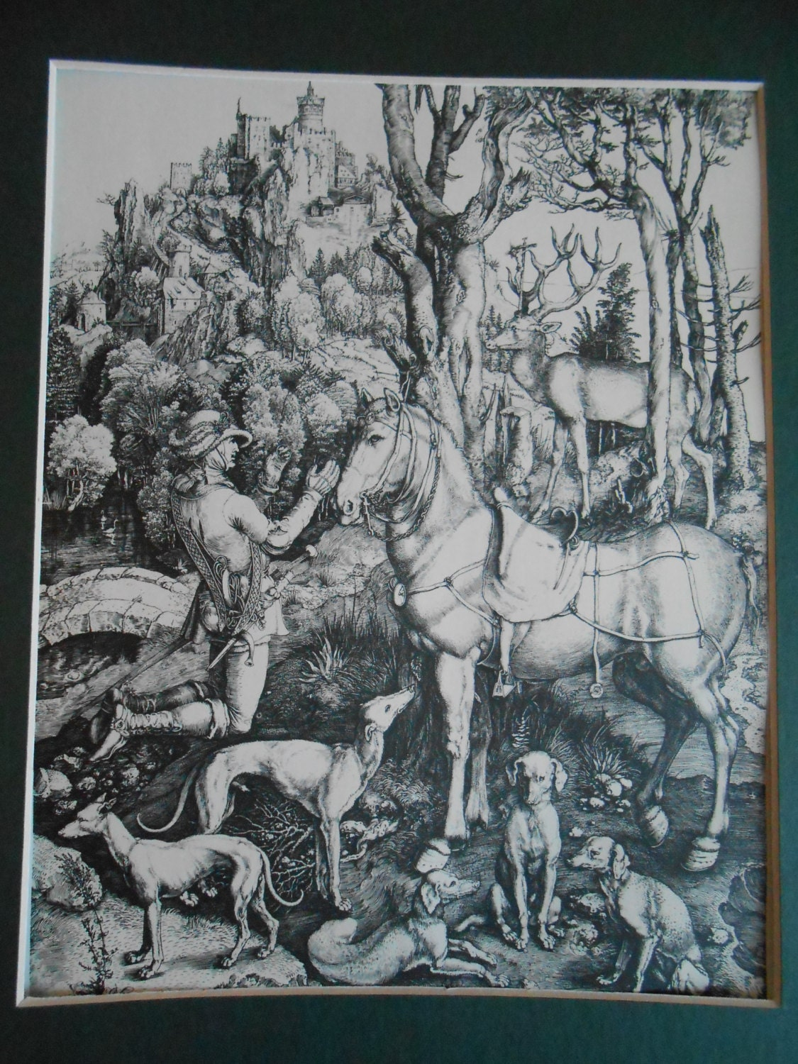 Vintage Soldier Horse Dogs Nude Maiden Antique Engraving Book