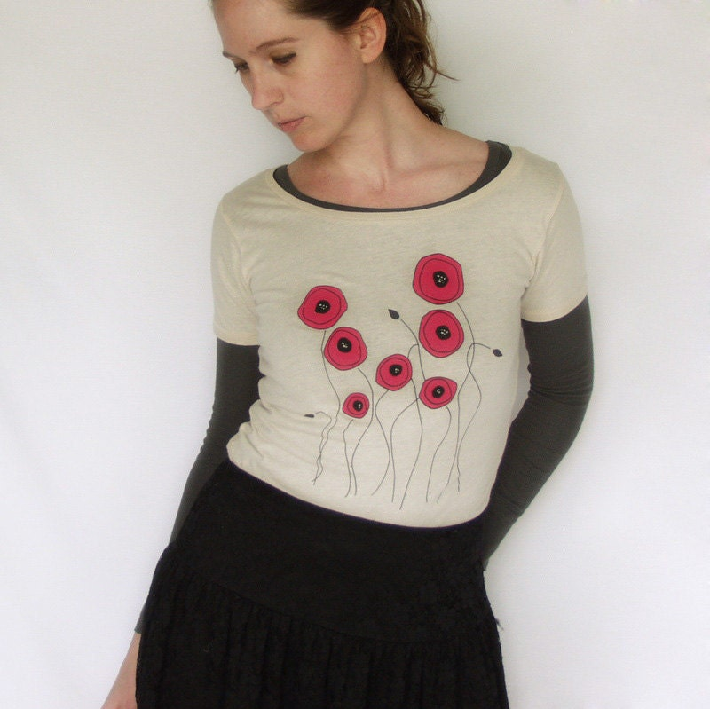 Poppy Flowers Organic Women's Scoop Neck Top in Earth Natural