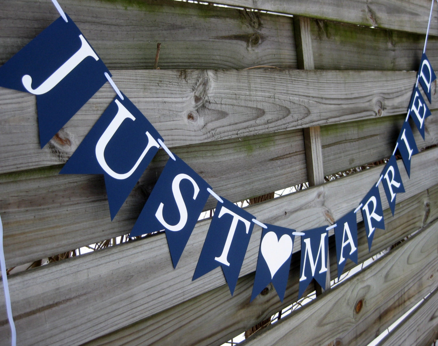 Just Married Wedding Banner in Navy Blue and White - craftyearth