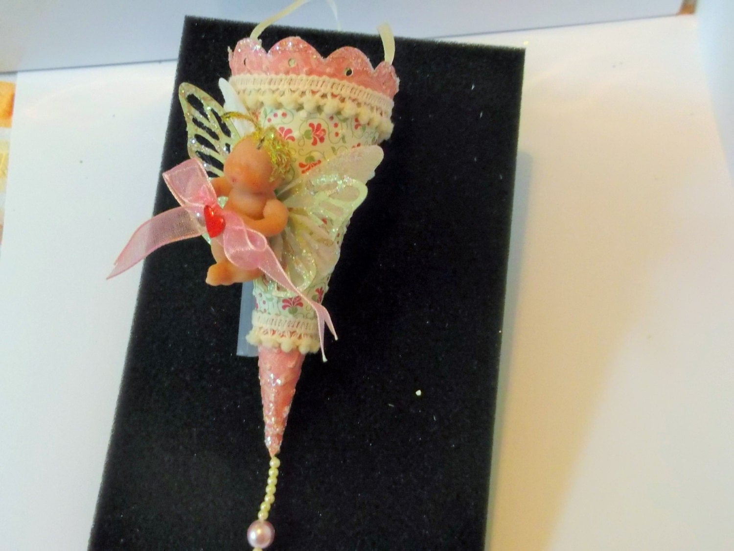 Easter DecorationFeather Tree Handmade Candy Cone Favor Box  Luv Bug Baby DollFairy BabyArt Doll Polymer Doll.BirthdayTussie Mussie