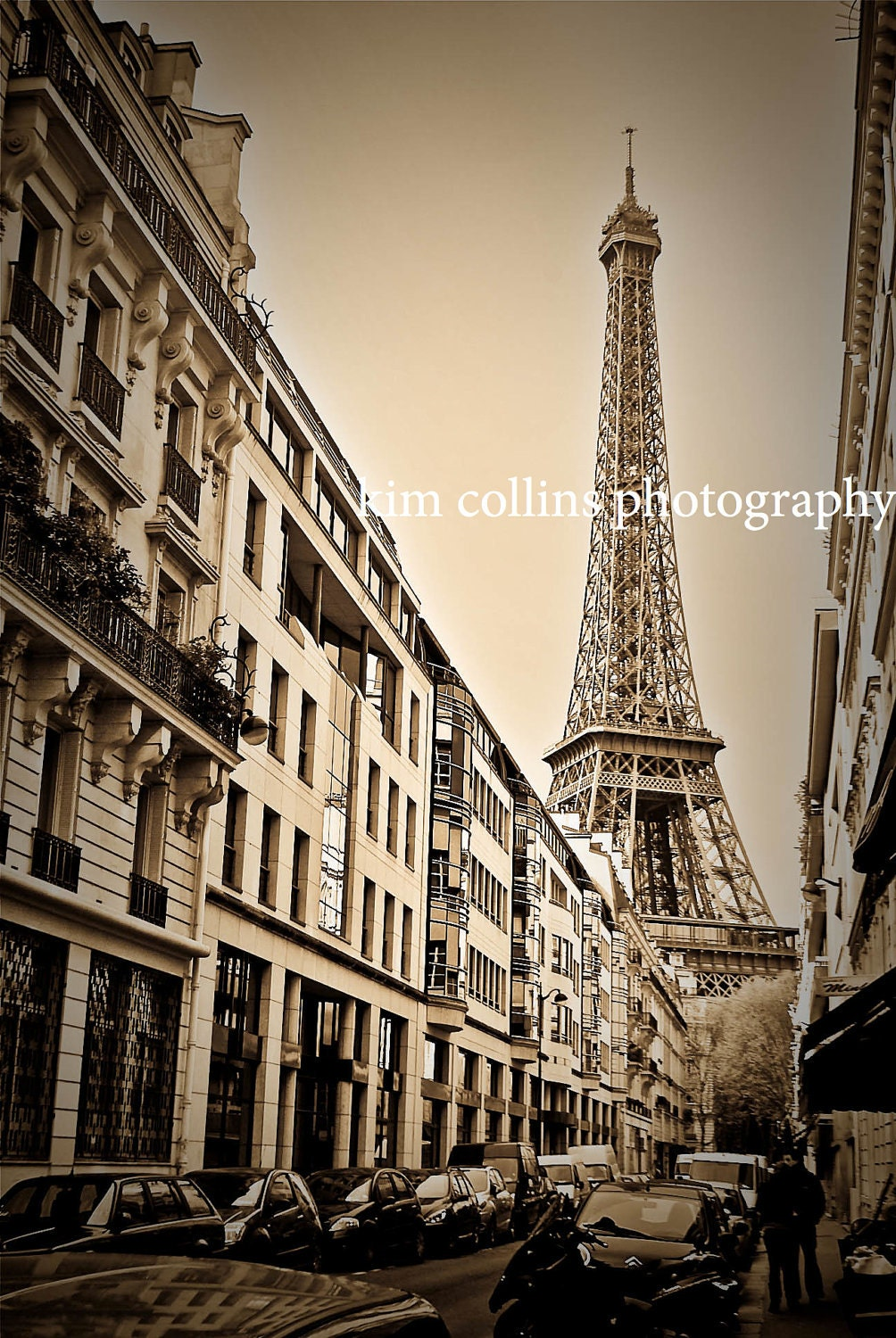 Eiffel Tower SepiaParis France 10x15 wall decor by KimCollinsPhoto