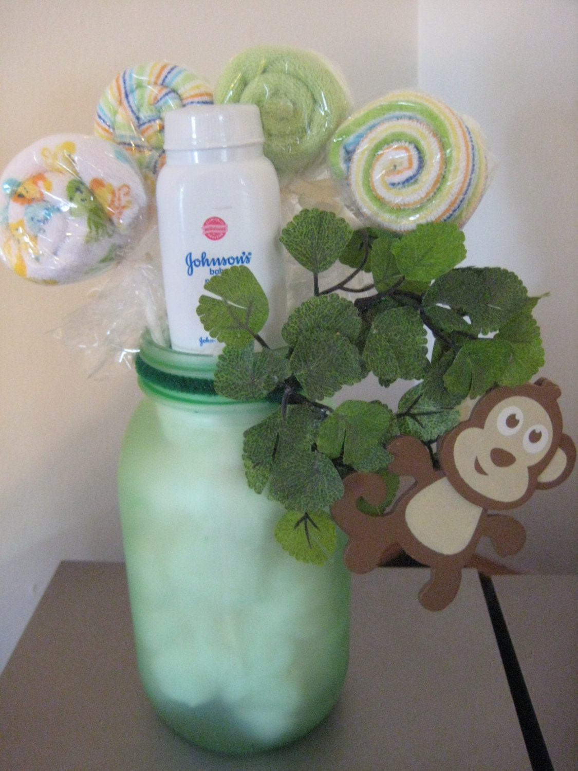 baby shower monkey mason jar safari centerpiece washcloth lollipop