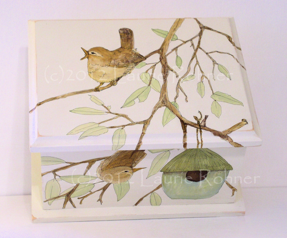 Hand Painted Keepsake Box Birdhouse and Birds