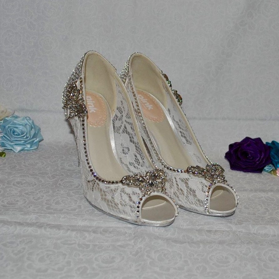Swarovski Crystal and Ivory Lace Cinderella Butterfly Heels  Cosplay Bridal Wedding Shoes  Live Action Cinderella 2015 Film Inspired Shoe