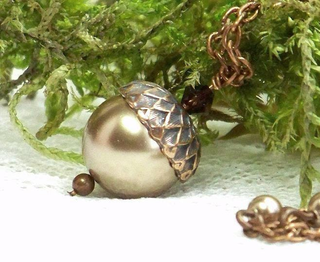 Acorn Necklace - Bronze Pearl Acorn And Antiqued Copper Necklace