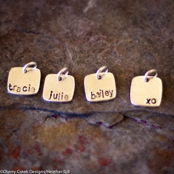 Tiny personalized single square charm with lower case font