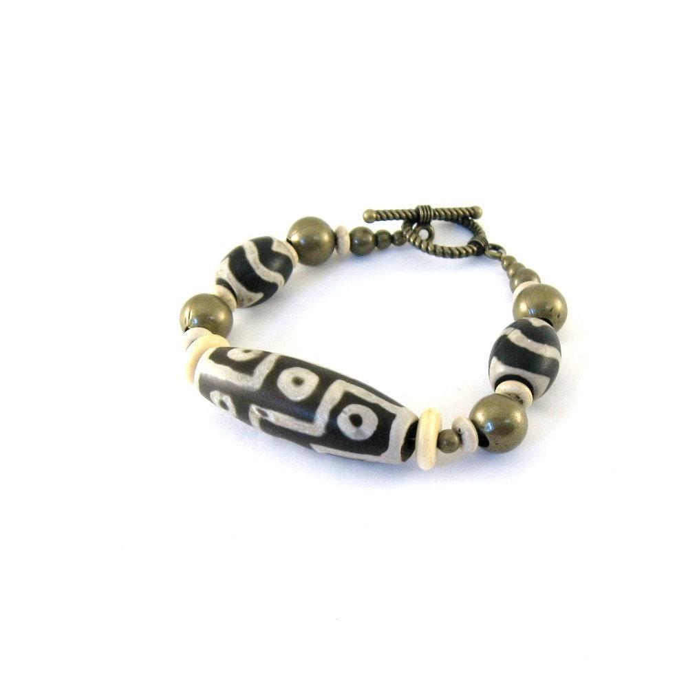 tibetan agate bracelet dzi bead bone antique by