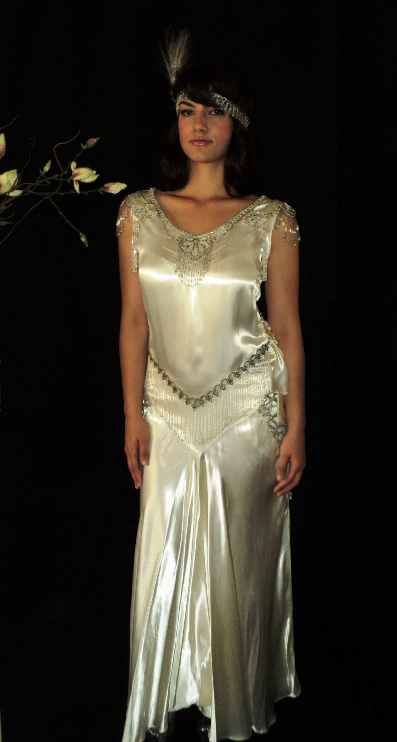 Great Gatsby 1920s Original Wedding Dress Silk By Bellasoiree