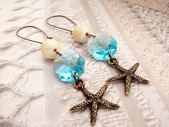 Starfish Earrings with a Vintage Chandelier Crystal, Light Blue Crystal, Brass Charm